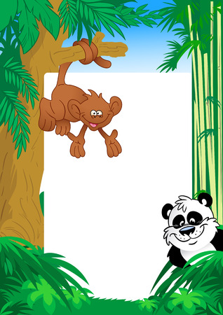 monkey and panda on background frame Vector