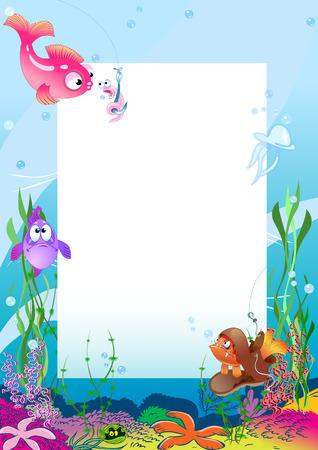 그림은 다양한 바다 생물과 물고기의 배경에 대해 프레임을 보여줍니다
