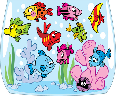 aquarium fish: Funny cartoon fish swim in an aquarium  At the bottom of the crab, seaweed and decoration  Illustration done on separate layers  Illustration
