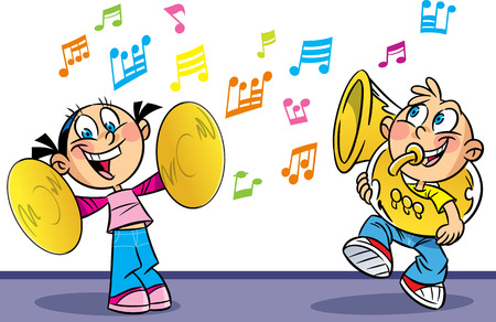 performers: The following illustration shows cartoon boy and girl who play musical instruments  Illustration done on separate layers  Illustration