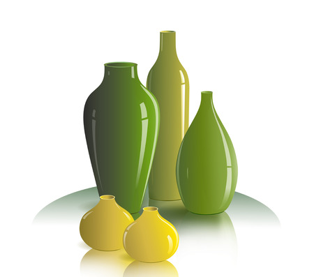 The illustration shows the still life on the table of several vases colors green and yellow