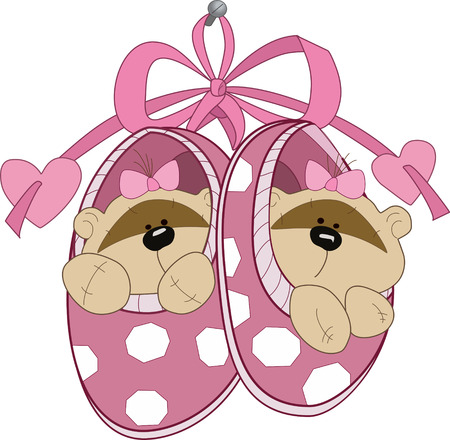 The illustration shows the baby booties with toy teddy bears  Illustration done in cartoon style, on separate layers  Vector