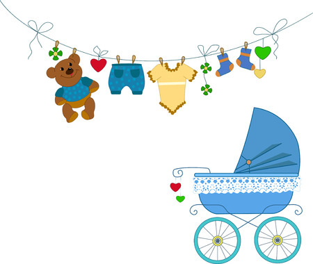 Greeting on the occasion of the birthday boy.  The postcard shows a blue baby stroller, baby clothes and toys in a cartoon style  Vector