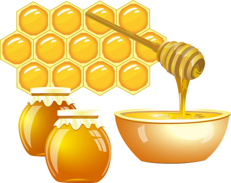 The illustration shows the honey, as a product of bees collecting nectar  Honey is in a glass tableware on honeycomb background  On separate layers, isolated on a white background  Illustration
