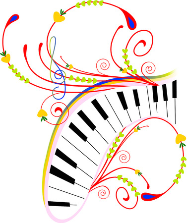 In the illustration abstract drawing with piano and music key