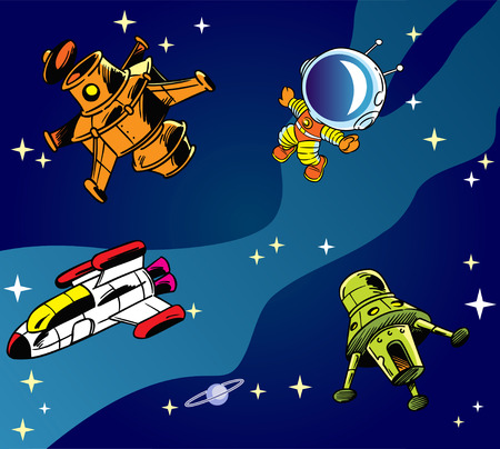 The illustration shows several types of spacecraft and one astronaut on a background of blue sky and stars  Illustration done in cartoon style, on separate layers  Vector