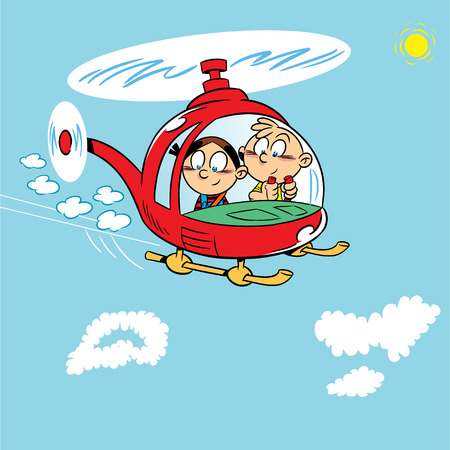 helicopter: The illustration shows two children playing  Boy and girl flying in a helicopter on a background of blue sky with clouds  Illustration on separate layers, in a cartoon style  Illustration