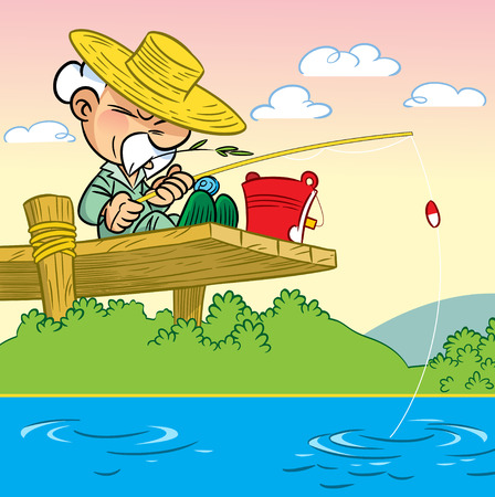The illustration shows an elderly man in a hat sitting on a bridge and engaged in fishing with a fishing rod  Иллюстрация