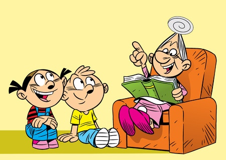 grandchildren: The illustration shows the grandmother, which is reading a book for grandchildren  Illustration done in cartoon style  Illustration