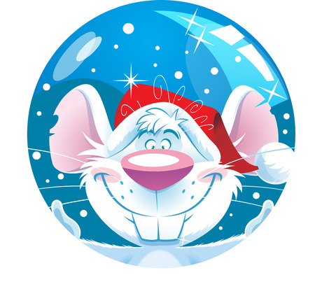 The illustration shows a funny cartoon mouse in a Christmas hat on a background of a toy ball  Vector