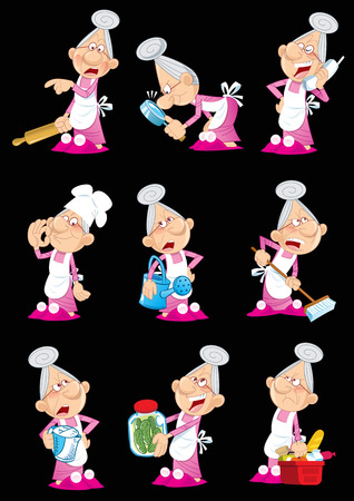 stance:  The illustration shows a group of several funny poses an elderly woman, which is engaged in household chores  Illustration done in cartoon style, on separate layers, isolated on black background