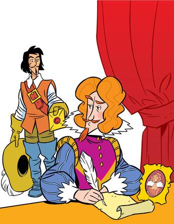 mosquetero: La ilustraci�n muestra un mosquetero y el vizconde, que se sienta a la mesa Ilustraci�n realizada en estilo de dibujos animados, en capas separadas