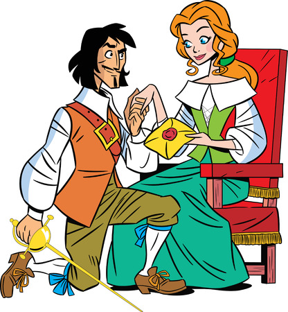 The illustration shows a musketeer and a beautiful girl  Illustration done in cartoon style  Vector