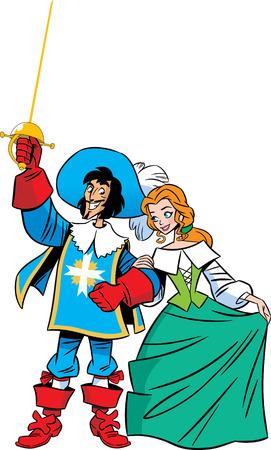 mosquetero: El mosquetero ilustraci�n y su amante Ilustraci�n realizada en estilo de dibujos animados