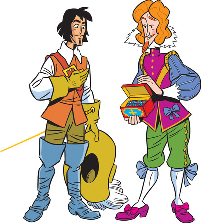 The illustration shows the musketeer and the viscount  Illustration done in cartoon style, on separate layers  Vector