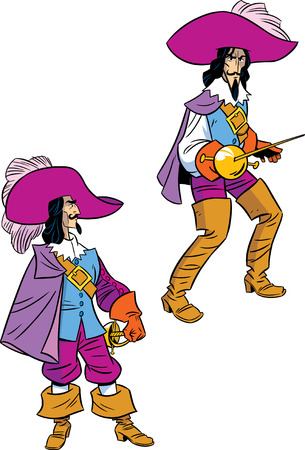 The illustration shows a musketeer in two poses  Illustration done in cartoon style, on separate layers  Vector