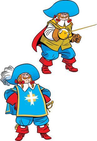 mosquetero: La ilustración muestra un mosquetero podge en dos poses Ilustración realizada en estilo de dibujos animados, en capas separadas