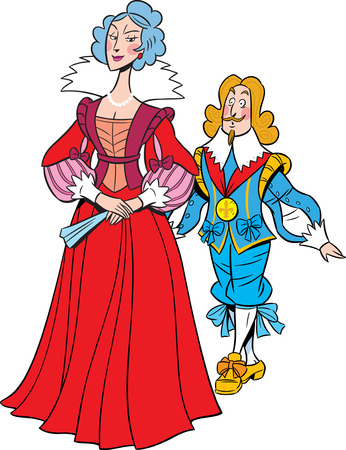 royal family: The illustration shows the queen and the king, who goes after her  Illustration done in cartoon style