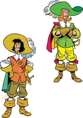 mosquetero: La ilustración muestra dos mosqueteros en trajes con armas Ilustración hecho en estilo de dibujos animados, en capas separadas