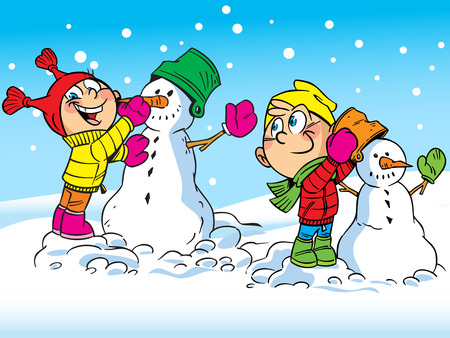 The illustration shows a boy and girl who make a snowman  Illustration done in cartoon style