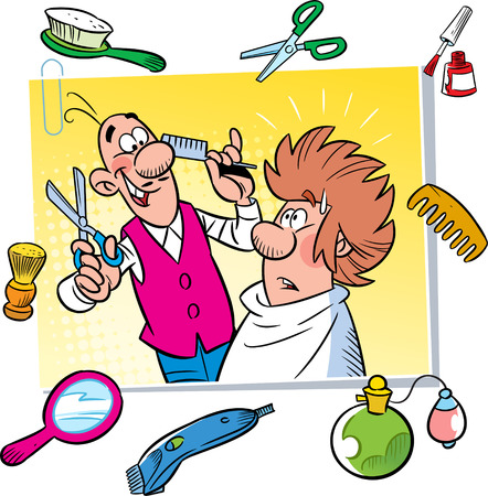 clippers: In the illustration cartoon funny hairdresser with client,  tools and attributes hairdressing salon  Illustration done on separate layers