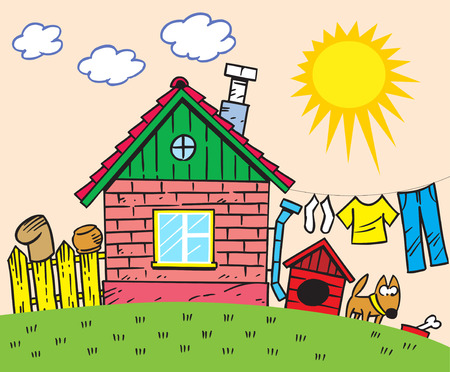 The illustration shows a small rustic house and a yard with a fence and a dog  Illustration done in cartoon style
