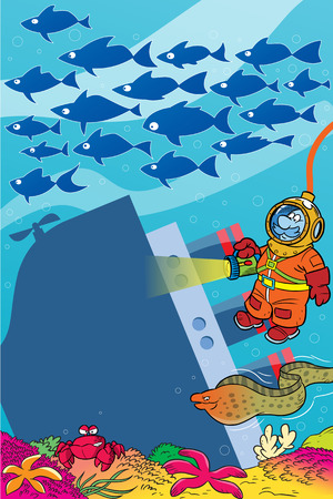 man underwater: The illustration shows a cartoon diver on the seabed  It illuminates an old sunken ship on a background seascape and shoals of fish  Illustration