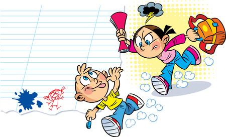 The illustration shows the two schoolchildren, who are acting up  Illustration done in cartoon style, on separate layers  Vector