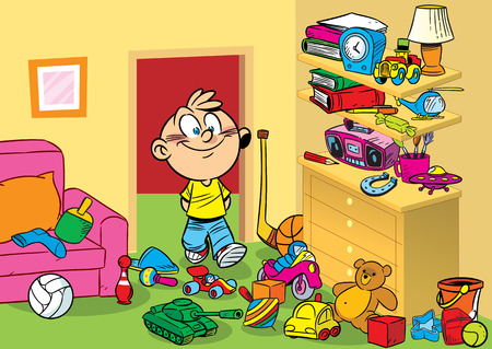 The illustration shows a boy on a background of interior children s room with toys  Illustration done in cartoon style  Vector