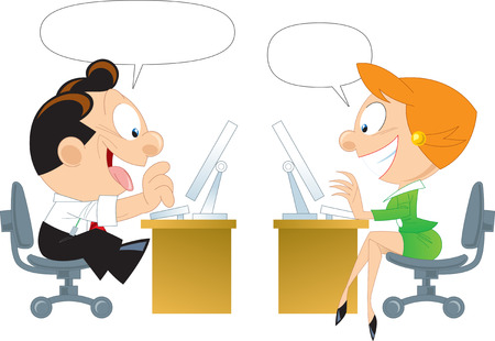 The illustration shows a man and a woman at the computer in the process of communication on the Internet  Illustration done in isolation on a white background  Vector