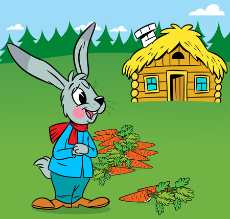 The illustration shows  on the background of the house a funny cartoon rabbit, which harvests carrots  Vector