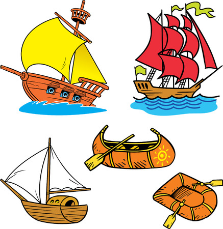 The illustration shows a group of small river and sea vessels in cartoon style.  Done on separate layers in vector isolated on white background  Vector