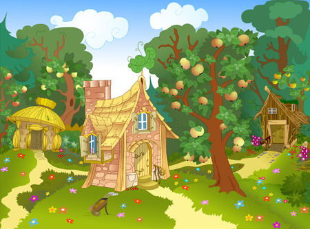 The illustration shows three different fabulous house on a forest glade and an apple orchard.  Illustration can be a gaming background to represent cartoon characters.  Figure made in vector on separate layers.