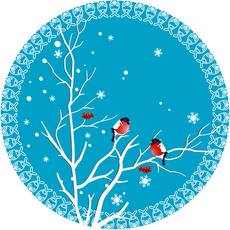 cartoons outline:  On winter illustration shows rowan branch with berries on which sit bullfinches  Illustration executed in a decorative round frame on separate layers