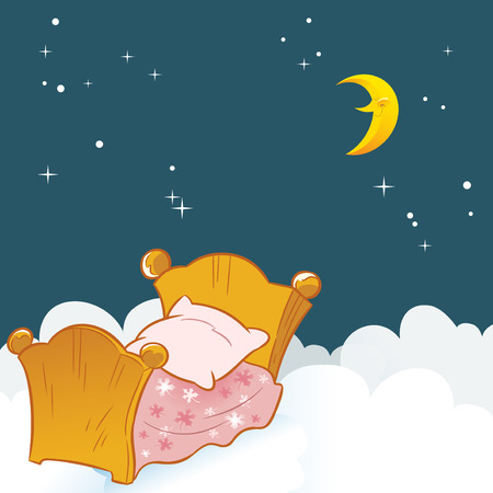 The illustration shows a small baby bed on a background of clouds and the night sky   Illustration done in cartoon style, on separate layers