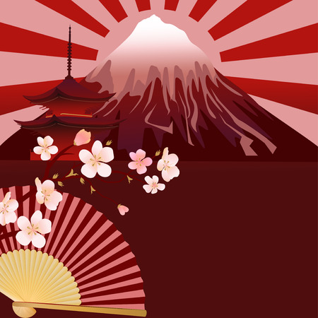 against the sun: The illustration shows a colorful pattern with Japanese national symbols blossoming branches cherry , fan and pagodas against the background rising sun and Mount Fuji  Illustration done on separate layers, there is a place for the text block  Illustration