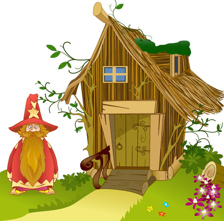 The illustration shows  fabulous house of  made of twigs and funny cartoon gnome  Illustration can be a gaming background to represent cartoon characters  Figure made in vector on separate layers  Vector