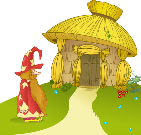 The illustration shows  fabulous house of straw and funny cartoon gnome  Illustration can be a gaming background to represent cartoon characters  Figure made in vector on separate layers  Vector