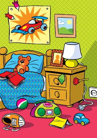 Obrázek ukazuje vnitřek Dětské pokoje s hračkami ilustrace provedené v kreslený styl