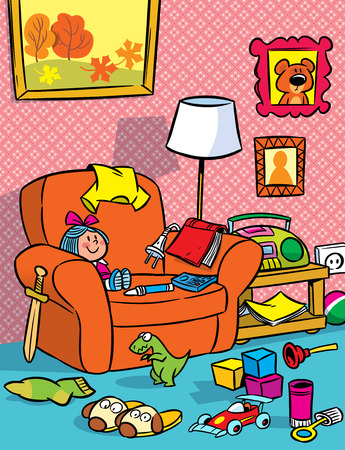 The illustration shows the interior of a children s room with toys  Illustration done in cartoon style  Vector