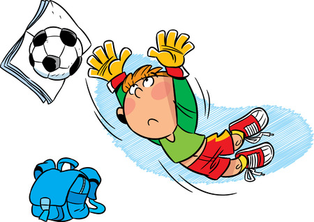 after school:  Schoolboy footballer after school playing with soccer ball  Illustration done in cartoon style, on separate layers