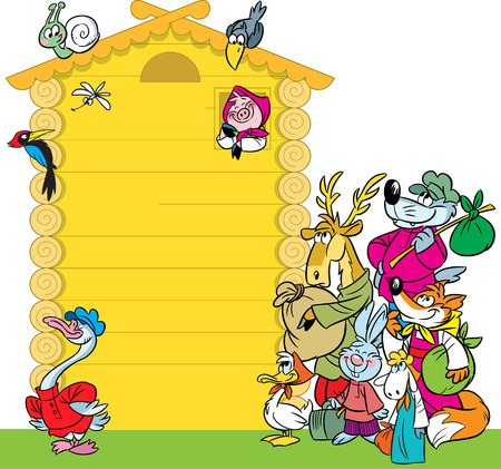 In the illustration cartoon house with funny animals  Illustration done on separate layers, there is a place for the test block  Vector