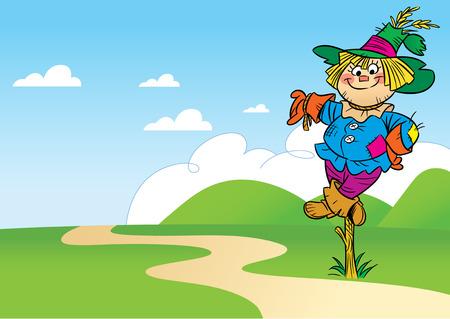 espantapajaros: La ilustración muestra un espantapájaros historieta divertida, que se sitúa en un campo cerca de la carretera