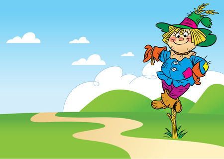 scarecrow: The illustration shows a funny cartoon scarecrow, which stands in a field near the road