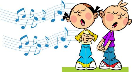 cantando: En la ilustración de dibujos animados chica y chico canta en el fondo simbólico notas musicales Ilustración realizada en estilo de dibujos animados, en capas separadas Vectores