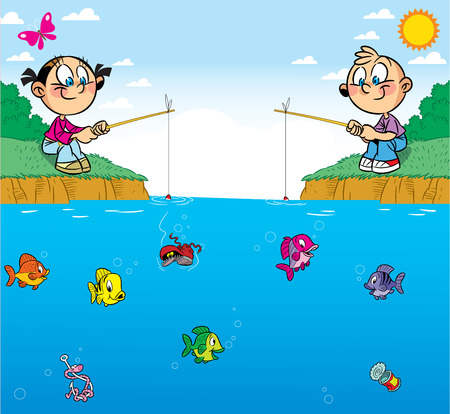 The illustration shows a boy and girl on the pond  They are passionate about fishing  In water swim different fish  Illustration done in cartoon style, on separate layers, there is room for text