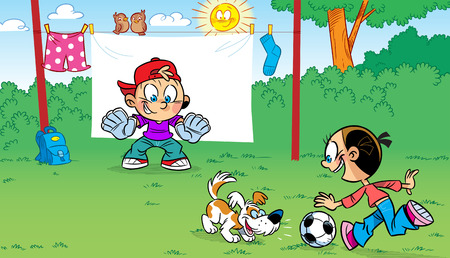 The illustration shows the funny cartoon children playing soccer and pranks   Illustration done on separate layers