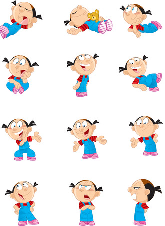 stance:  The illustration shows a child in different poses. This funny cartoon girl. Illustration can be used as a design element for cards, comic books. Achieved in isolation on a white on separate layers.