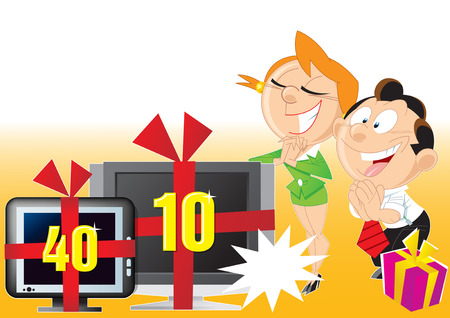 The illustration shows a banner that tells about discounts on the price of computer  equipment.  Vector