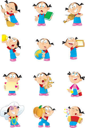The illustration shows a child in different poses.